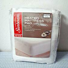 NEW SUNBEAM QUILTED HEATED MATTRESS PAD WITH DUAL CONTROLS - QUEEN - WHITE