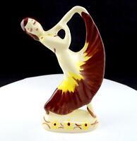 "RIO HONDO CALIFORNIA POTTERY BROWN & YELLOW DRESS DANCING LADY 7"" FIGURINE 1930-"