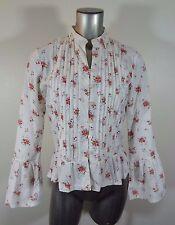 Roxy women's pleated long sleeve button down shirt M