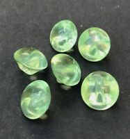 6 Sparkly 1cm Vintage Czechoslovakian Aqua Green Glass Buttons