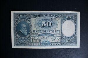 Lithuania 1928 50 Litu VF+