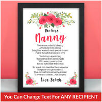 PERSONALISED Christmas Poem Gifts for Nanny Granny Nana Mum Mam Mummy Gifts
