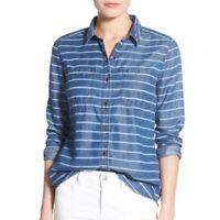 Halogen Blue Stripe Denim Tencel Button Down Shirt Long Sleeve Top Medium M New