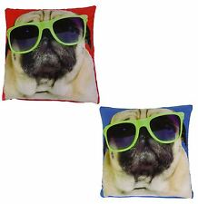 """2 X GLASSES PUG PUPPY DOGS BLUE RED VELVET THICK CUSHION COVERS 17"""" - 43CM"""