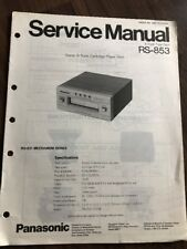Original Panasonic Technics Model RS-853 8-Track Service Manual