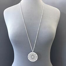 Boho Style Long Matte Silver Finish Chain Large Filigree Circle Pendant Necklace