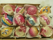 12 FABULOUS  VTG ANTIQUE PINK BLUE GOLD MERCURY GLASS XMAS ORNAMENTS INDENTS