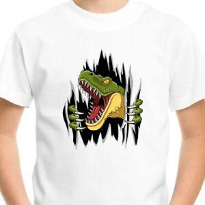 Dinosaur Jurassic T-Shirt Gift Kids Boys Birthday T-Rex Ripped Dino Funny Top
