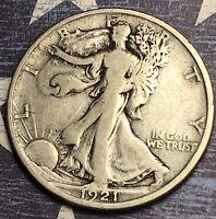 1921-D WALKING LIBERTY SILVER HALF DOLLAR RARE COLLECTOR COIN. FREE SHIPPING