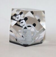 Walt Disney Mickey Mouse STEAMBOAT WILLIE Clear Acrylic Paperweight Facet Lucite