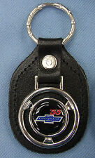 Vintage '55 CHEVY Steering Wheel Black Leather 1955 Chevrolet Keyring Key Fob