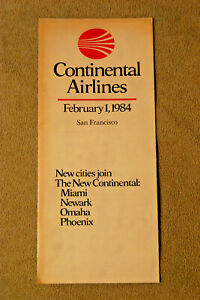Continental Airlines City Timetable - San Francisco - Feb 1, 1984
