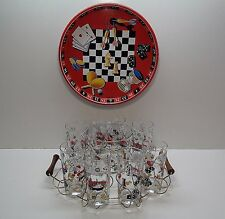 GAME CHESS PIECES TUMBLER GLASSES IN WOODEN METAL RACK HOLDER ICE BUCKET & TRAY