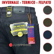 New Story Jeans Uomo imbottito pantalone Cotone elasticizzato foderato x inverno