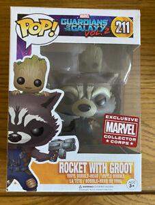 Funko Pop! Vinyl ~ GotG: Rocket with Groot Marvel Collector Corps Exclusive #211