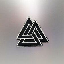 Valknut Patch — Iron On Badge Embroidered Motif — Norse Knot Symbol