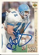 Signed 1992 Upper Deck Football card #4 Brian Bollinger North Carolina Tarheels