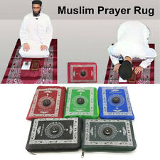 Eid mubarak Muslim Prayer Rug Mat Islamic Pocket Travel Blanket with Compass