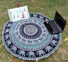 Elephant Mandala Round Tapestry Throw Hippie Beach Blanket Yoga Mat Cotton Multi