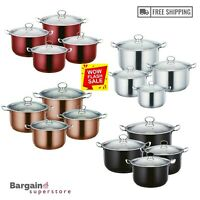 4pc Deep Non Stick Metallic Stockpot Induction Casserole Pan Pot Set Glass Lid