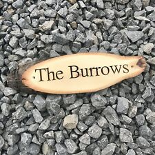 Personalised Engraved Wood Slice House Name Number Door Plaque Rustic Sign