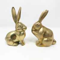 Pair Of Vintage Brass Bunnies Rabbits Figurines Animal Decor Easter