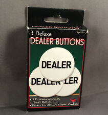 """New! 3 Deluxe Dealer / Donneur Buttons 1.5"""" Texas Holdem Poker English / French"""