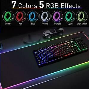 LARGE 80 X 30CM RGB COLORFUL LED LIGHTING GAMING MOUSE PAD MAT FOR PC LAPTOP UK