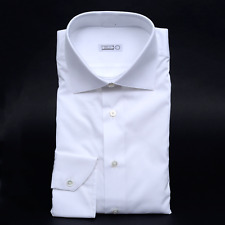 $750 NWT ZILLI Solid White Cotton Spread Collar Slim Fit Dress Shirt 40 15 3/4