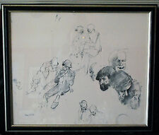 "Robert Owen Clown Study Sketch Print Signed Framed 26"" by 23"""