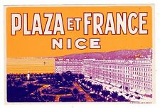 LUGGAGE LABEL FRANCE HOTEL PLAZA & FRANCE IN NICE