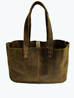 "18"" Vintage Leather Tote Bag Women Purse Handbag Travel Shopping Shoulder Bags"