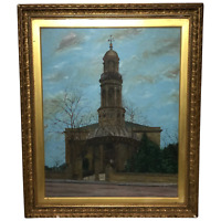 """19th Century English Oil Painting View """"St Marys Church Banbury Oxfordshire"""""""