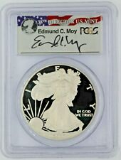 2007-W $1 Proof Silver Eagle PCGS PR70 Ed Moy Signed Red White and Blue Label