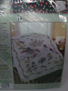 """Bucilla MOTHER GOOSE Stamped Cross Stitch Baby Crib Cover Quilt Kit 34"""" x 43"""""""