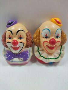 "Lot of 2 Porcelain Ceramic Painted Wall Hanging Face Mask Vintage Makeup 6x4"""