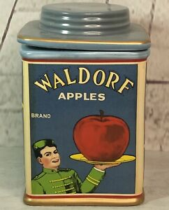 Vintage Labels Sakura NY By Oneida Retro Waldorf Apples Cookie Jar Canister Used
