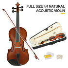 Full Size 4/4 Violin Handed Natural Acoustic Fiddle with case Bow Gs Tangerine