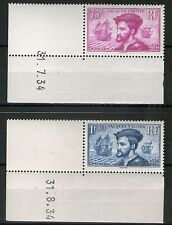 TIMBRES N° 296-297  NEUF ** J. CARTIER - SUP. ET RARE PAIRE DATEE SIGNEE ROUMET
