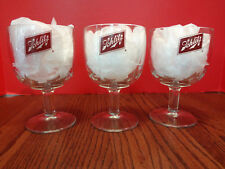 "Set of 3 BLATZ GLASS GOBLETS Heavy Glass 6"" tall X 3 3/4 wide ~FAST S/H~"