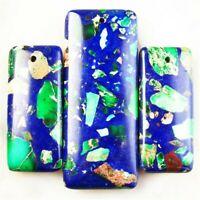 3Pcs Green Blue Sea Sediment Jasper Oblong Pendant Bead DIY Necklace 48X18X6mm