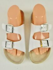 Bjorndal Ladies White Leather Two Strap Buckles Slide Sandals Size 10.5 M / 41
