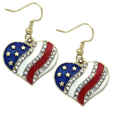 Independence Day Usa Us American Flag Heart Star Charm Dangle Hook Earrings e34h