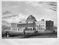 WASHINGTON DC CAPITOL BUILDING ~ Antique Old 1846 Art Print Engraving VERY RARE!