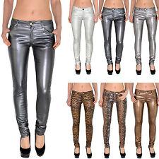 Damen  Röhrenjeans Skinny Hüftjeans Jeans Hose in Leder Optik Metalic Z44