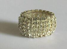 Crystal Rhinestone Wrap Ring Silver Tone Stretch Band One Size