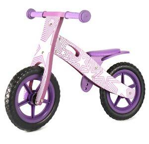Nicko NIC858 Purple Star Children's Kids Girls Wooden Balance Bike 2-5 Years
