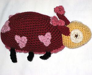 HANDMADE Knit CROCHET Heart LADYBUG Plush STUFFED ANIMAL a KIDS Toy INSECT Doll!