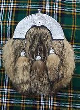 ST Men's Scottish Leather Kilt Sporran FoxFur Celtic Chrome Finish Chain Belt