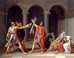 Jacques-Louis David - Oath of the Horatii, Museum Art Poster, Canvas Print